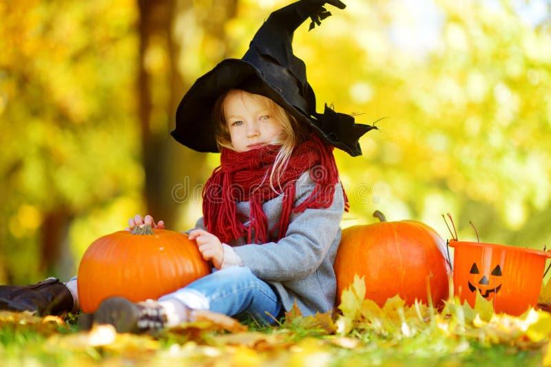 Entzückendes kleines Mädchen, das Halloween-Kostüm hat Spaß auf einem Kürbisflecken am Herbsttag trägt stockfotografie