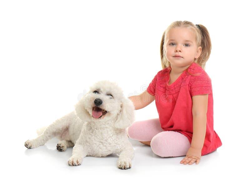 Entzückendes kleines Mädchen mit ihrem Hund stockfotos