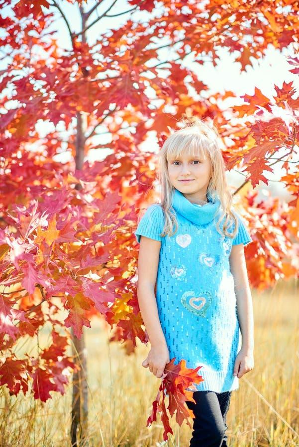 Entzückendes kleines Mädchen mit roten Blättern lizenzfreie stockfotografie