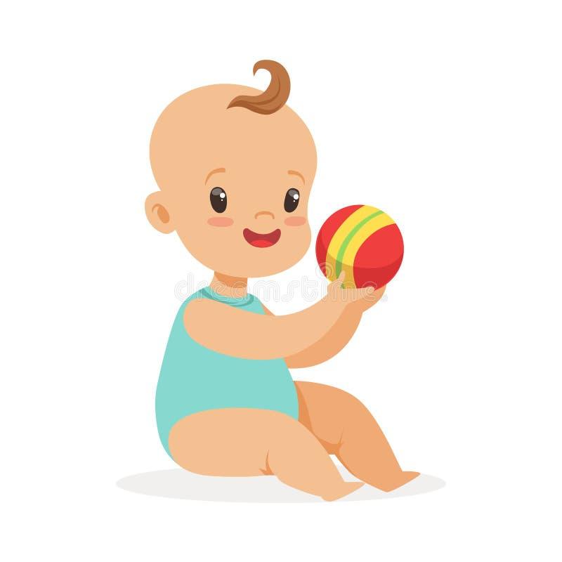 Entzückendes lächelndes Baby, das mit einem Ball, bunte Zeichentrickfilm-Figur-Vektor Illustration sitzt und spielt vektor abbildung