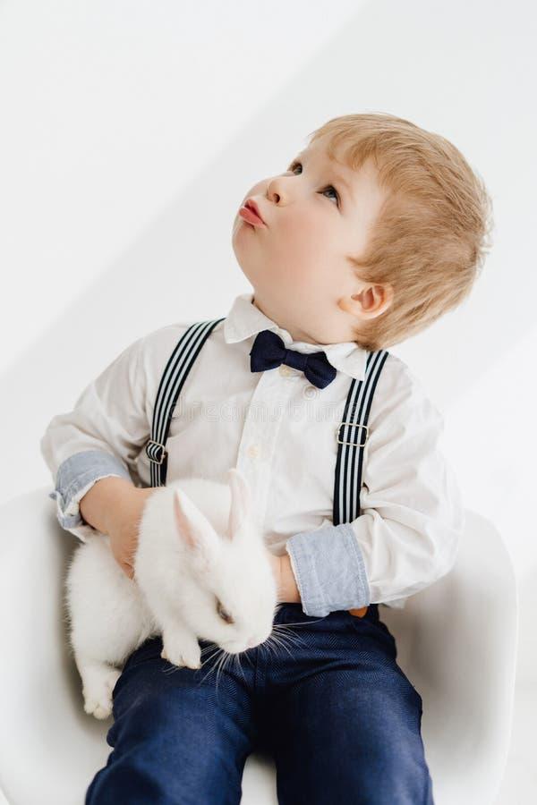 Entzückendes Little Boy, das mit Kaninchen-Porträt aufwirft stockfoto