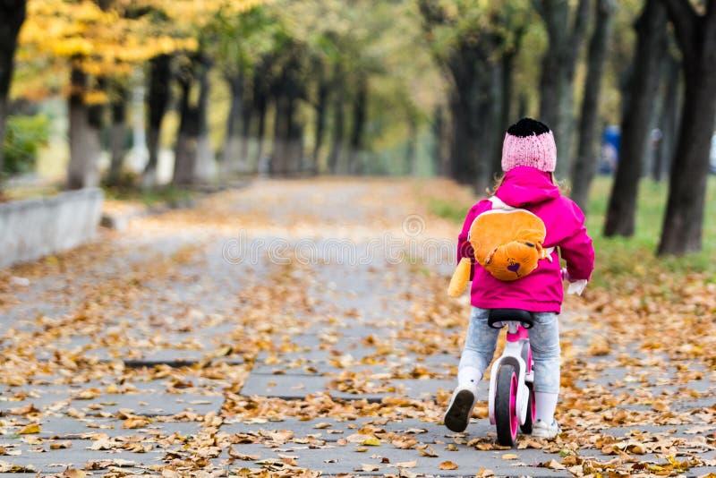 Entzückendes Mädchen, das ein Fahrrad reitet lizenzfreie stockbilder