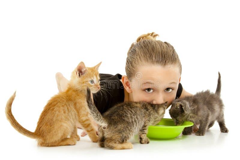 Entzückendes Mädchen-Kind, das Milch-Schüssel des Kätzchens teilt stockfotografie