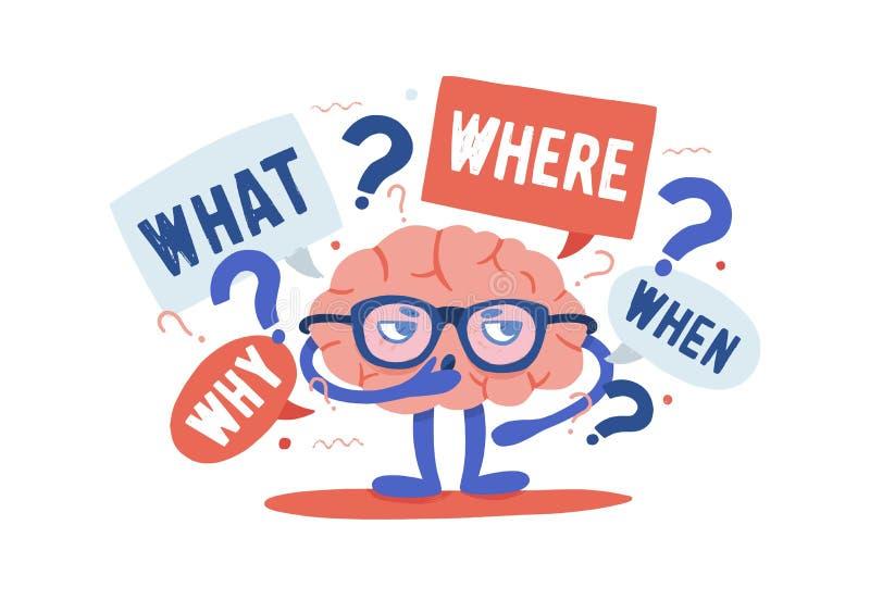Entzückendes neugieriges menschliches Gehirn mit den Gläsern, die Rätsel umgeben durch Fragen und Befragungspunkte lösen karikatu lizenzfreie abbildung