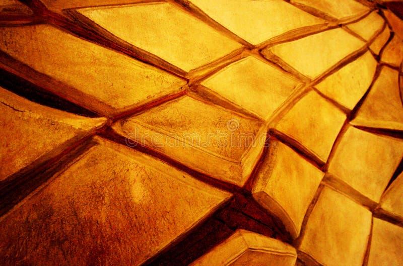Entziehen Sie Beschaffenheit der gebrochenen gelben Wand stockfotografie