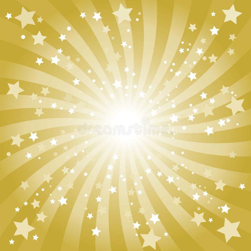 Entziehen Sie goldenen Stern-Hintergrund lizenzfreie abbildung