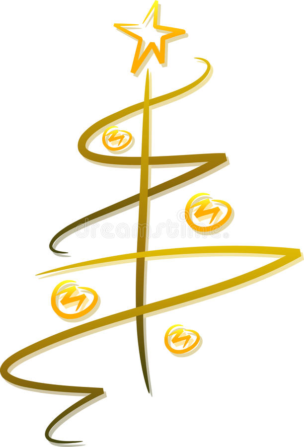 Entziehen Sie goldenen Weihnachtsbaum lizenzfreie abbildung