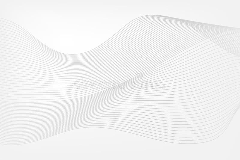 entziehen Sie Hintergrund Invinations-Karte mit Wellen Graue Vektorbandlinien für Webdesign stock abbildung
