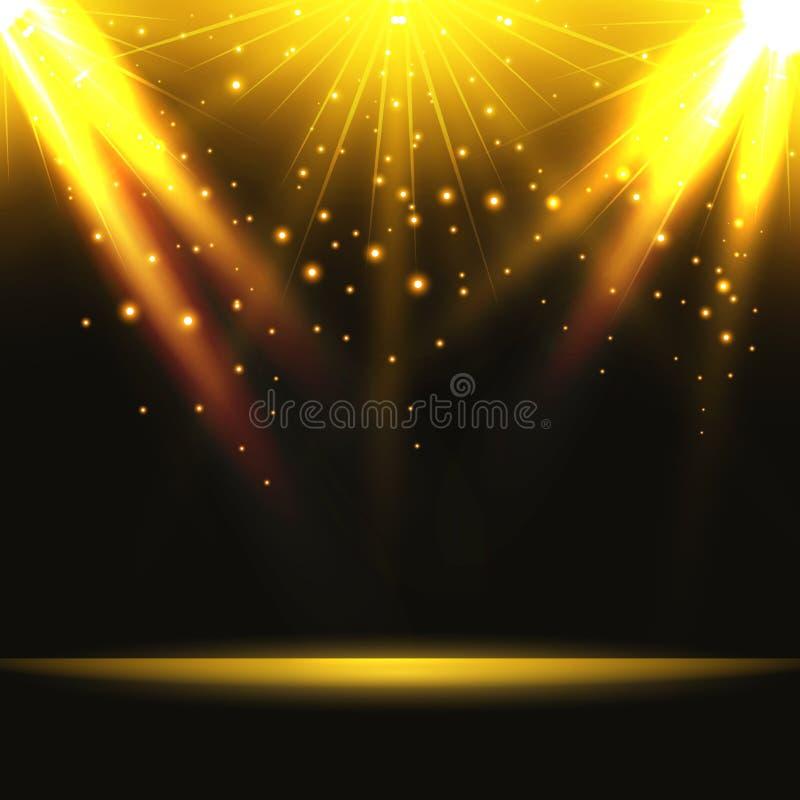 entziehen Sie Hintergrund Magisches Licht mit dem Gold gesprengt auf Stadium Vecto vektor abbildung