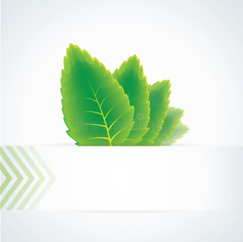 Entziehen Sie Hintergrund mit grünen Blättern und Fahne stock abbildung