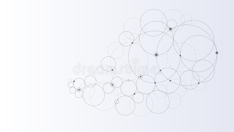 entziehen Sie Hintergrund Moderne Technologieillustration mit Masche Geometrisches Muster mit Kreisen lizenzfreie abbildung