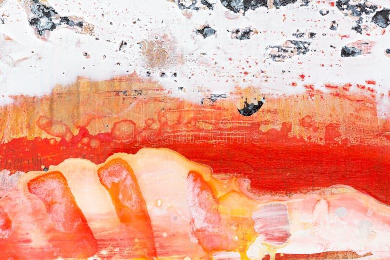 entziehen Sie Hintergrund Rote und weiße collors im Ölgemälde stockfoto