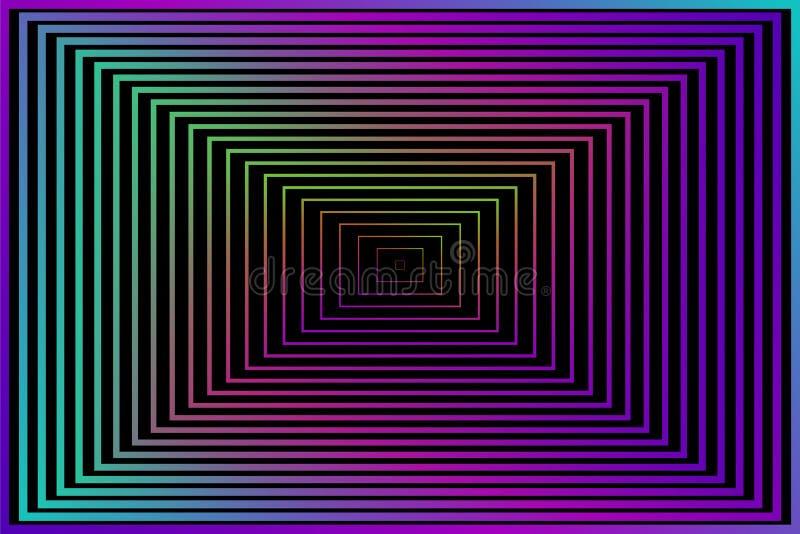 entziehen Sie Hintergrund Vektorillustration für Ihre Tapete oder Design Schwarze, purpurrote, rosa, blaue, grüne Farben Quadrat  stock abbildung