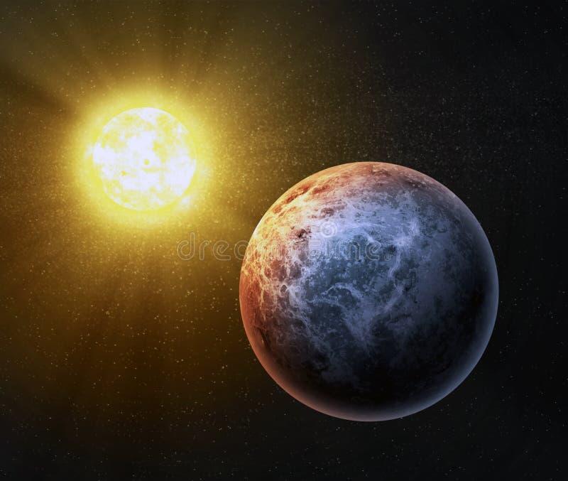 Entziehen Sie Nahstern exoplanet stock abbildung