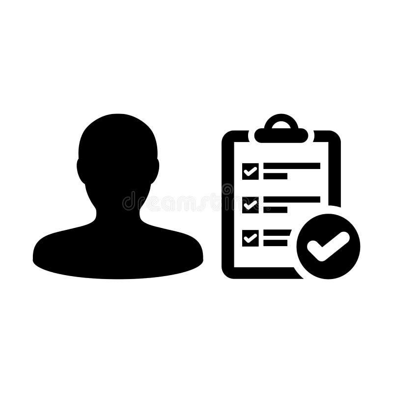 Enumere al avatar del perfil de la persona masculina del vector del icono con el documento del informe de la lista de control de  ilustración del vector