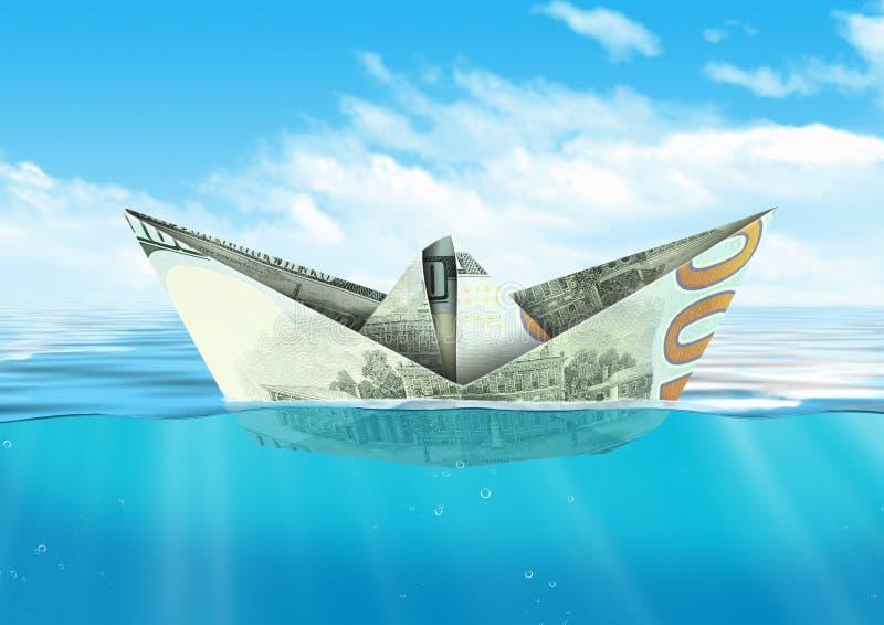 Envíe del dinero del dólar que flota en el océano, concepto de las finanzas foto de archivo