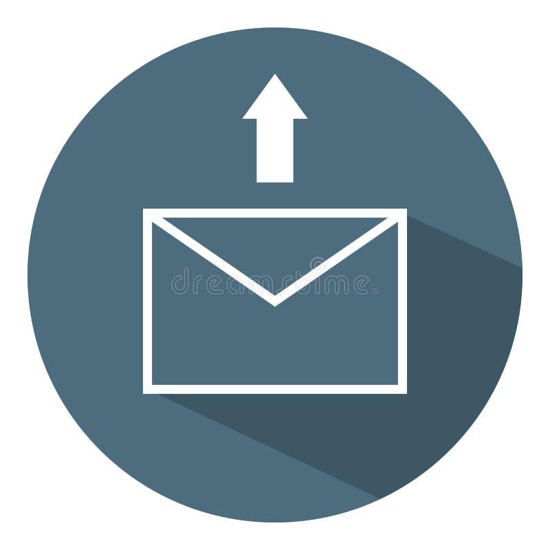 Envíe el icono de la letra Flecha blanca Concepto del asunto Estilo plano Ejemplo del vector para el dise?o, web, Infographic stock de ilustración