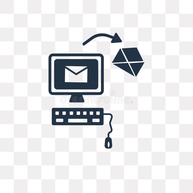 Envíe el icono del vector aislado en el fondo transparente, transporte del correo ilustración del vector