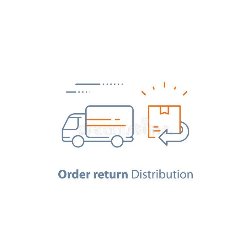 Envíe el paquete, reciba la caja, pedido pendiente de vuelta, servicios de distribución, camión de reparto rápido, compañía de la ilustración del vector