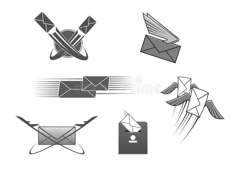 Envíe el sobre de la letra de los posts, icono postal del vector ilustración del vector