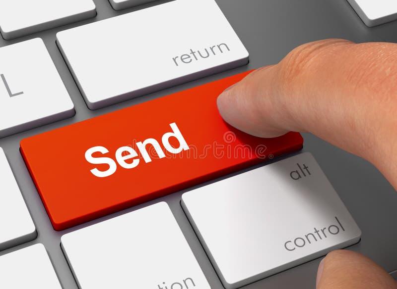 Envíe empujar el teclado con el ejemplo del finger 3d foto de archivo