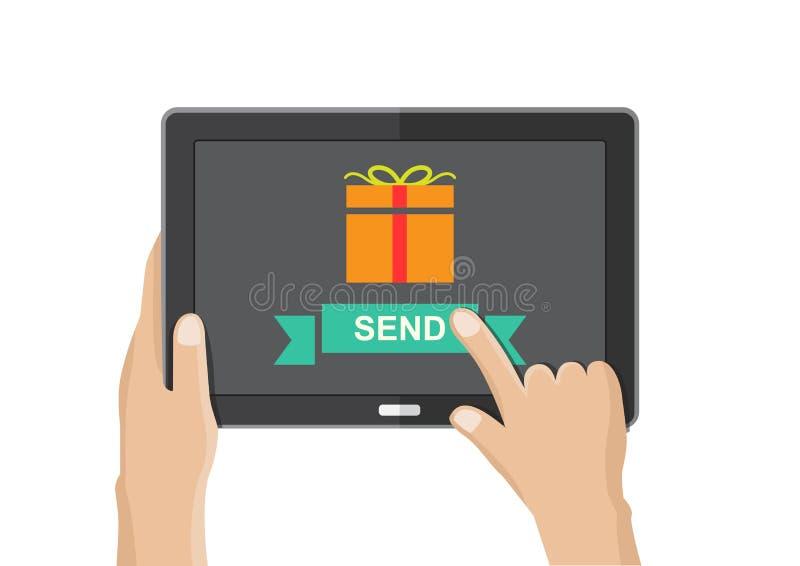 Envíe la caja de regalo de la tableta stock de ilustración