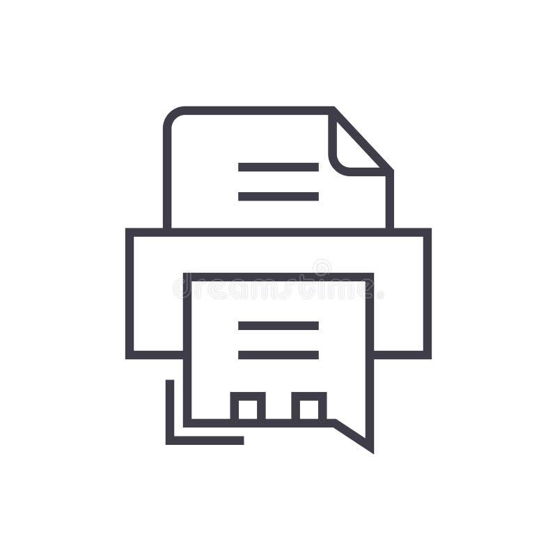 Envíe la línea icono, muestra, ejemplo del vector por fax de la impresora en el fondo, movimientos editable stock de ilustración