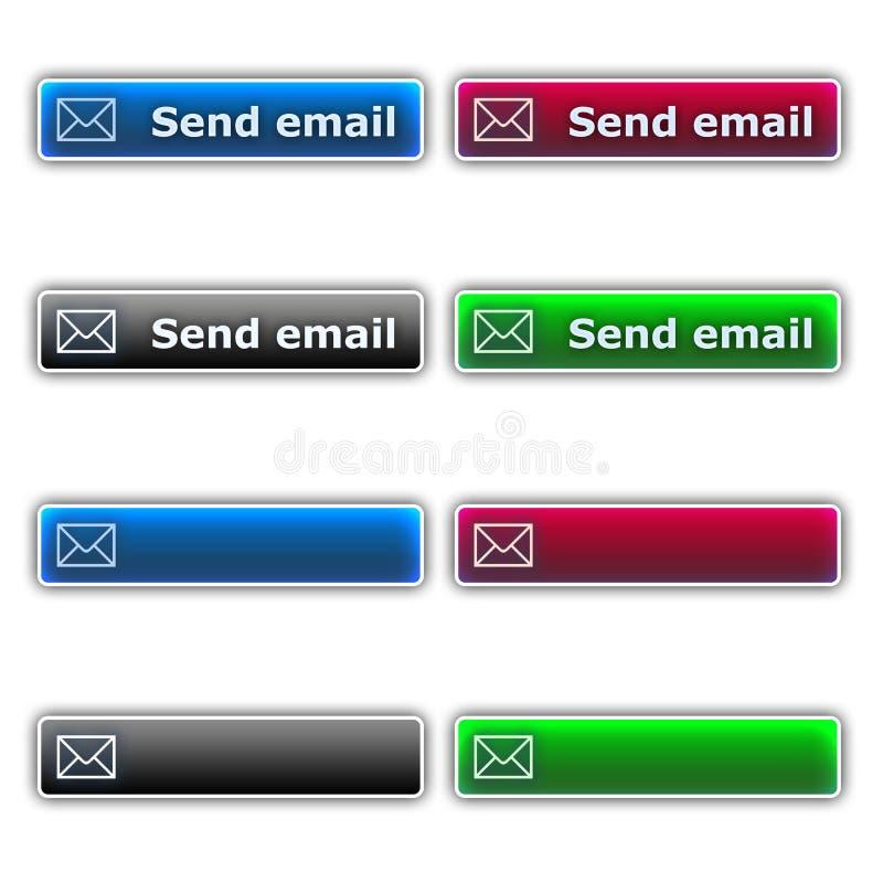 Envíe los botones del email ilustración del vector