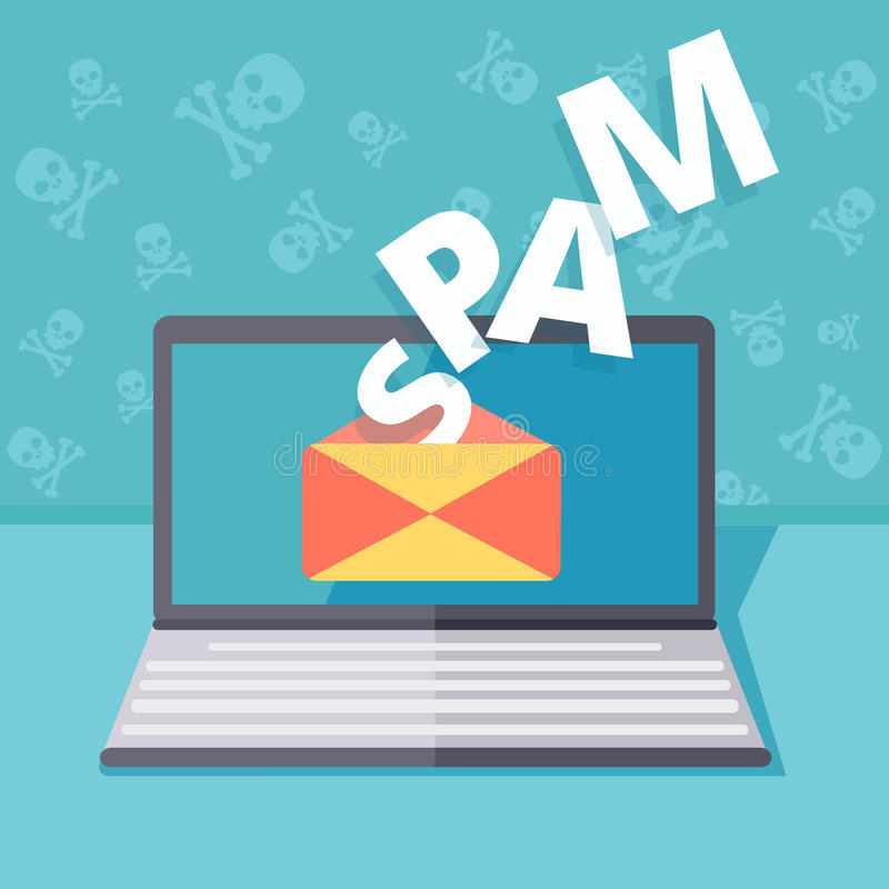 Envíe por correo electrónico el ejemplo del concepto del vector de la seguridad del Spamming o del phishing ilustración del vector
