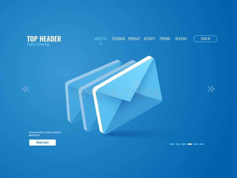 Envíe por correo electrónico el icono isométrico, vector de la plantilla de la página del sitio web en azul ilustración del vector