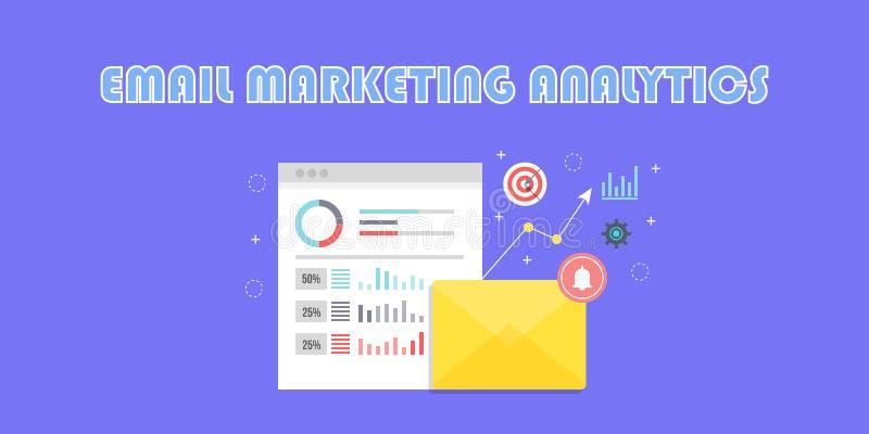 Envíe por correo electrónico el márketing, análisis de datos, compromiso del cliente, analytics de la tarifa abierta, información stock de ilustración