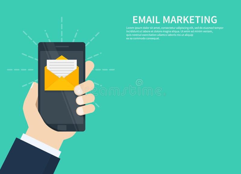 Envíe por correo electrónico el márketing, el márketing del hoja informativa, la suscripción del correo electrónico y la campaña  stock de ilustración