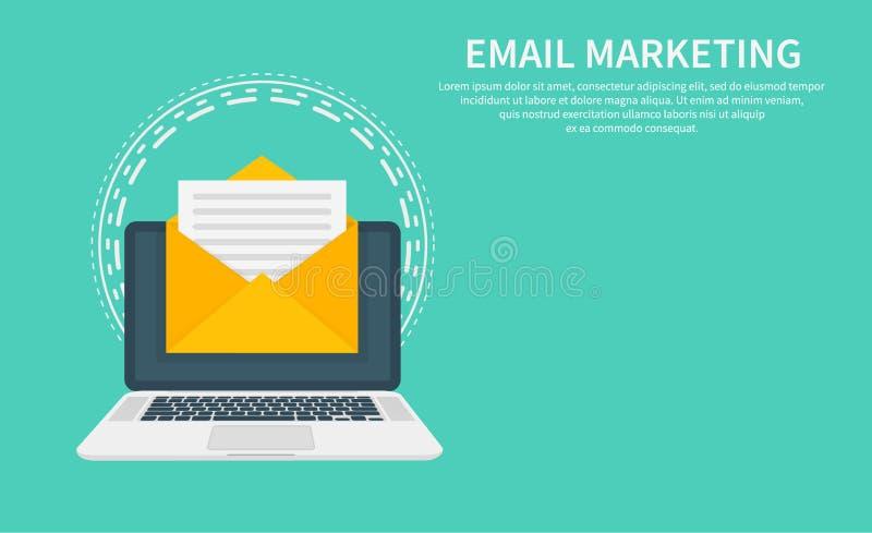 Envíe por correo electrónico el márketing, el márketing del hoja informativa, la suscripción del correo electrónico y la campaña  ilustración del vector