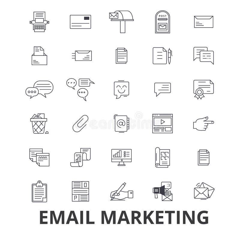 Envíe por correo electrónico el márketing, fijación, medio social, hoja informativa, Internet, en línea, línea iconos del blog Mo ilustración del vector