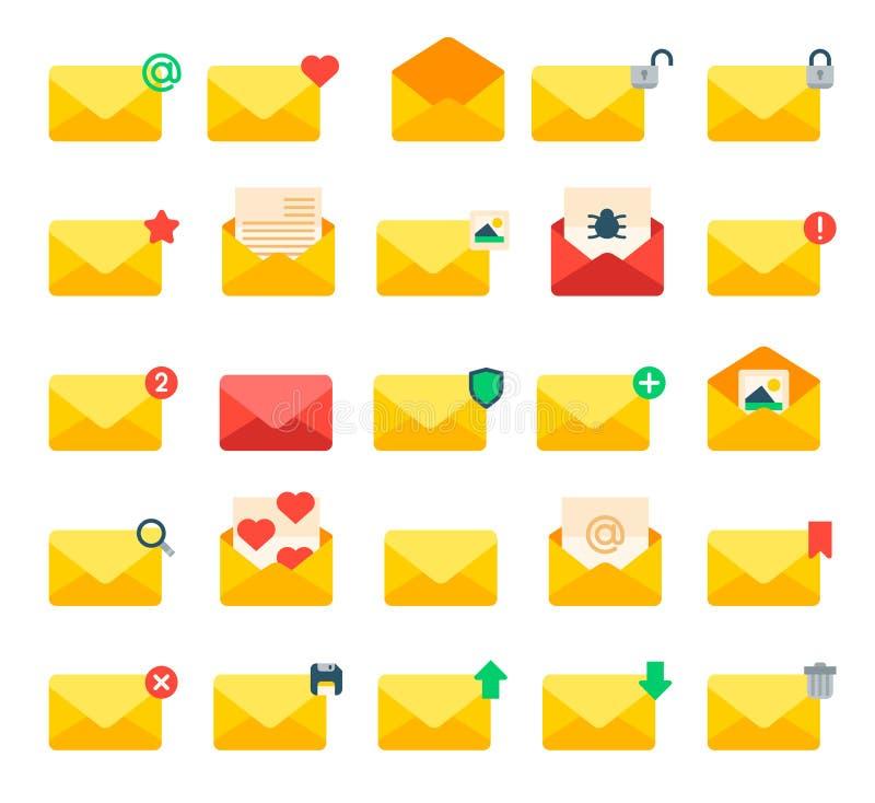Envíe por correo electrónico el sobre amarillo de la letra del mensaje, sistema del vector de los iconos de la cubierta stock de ilustración