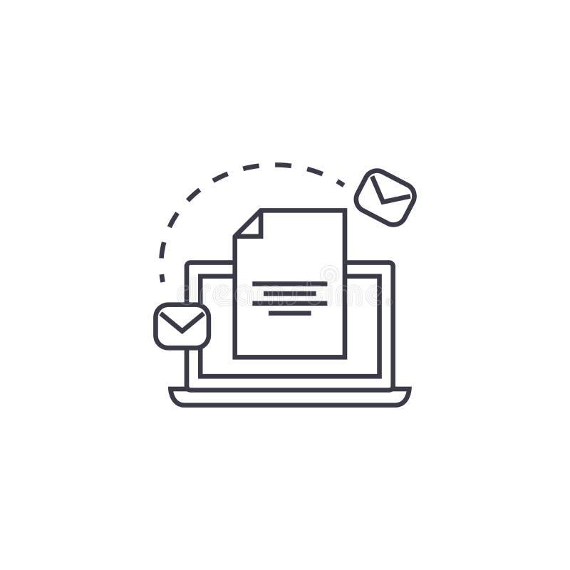 Envíe por correo electrónico la línea icono, muestra, ejemplo del vector del sistema de comercialización en el fondo, movimientos libre illustration