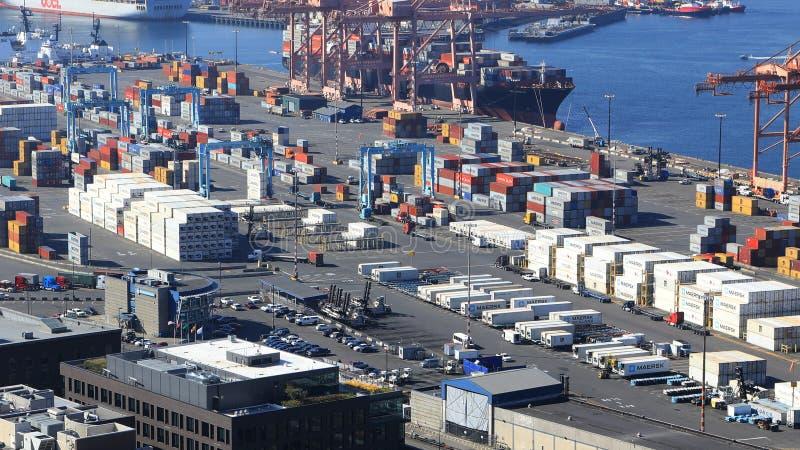 Envío del envase en puerto de Seattle, Washington imágenes de archivo libres de regalías
