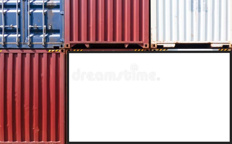 Envío del envase para el negocio logístico de las importaciones/exportaciones e industrial Cartelera blanca vacía Espacio en blan foto de archivo libre de regalías