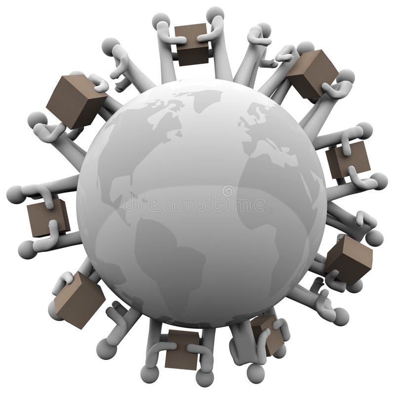 Envío global que recibe envíos alrededor del mundo stock de ilustración