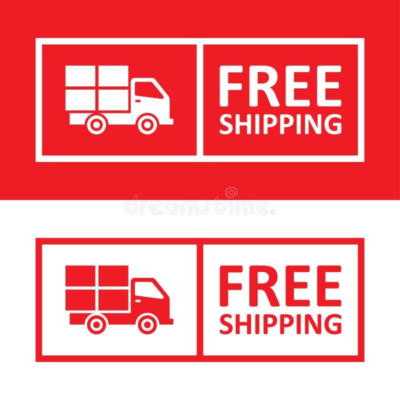 Envío libre Insignia con el icono del camión ilustración del vector