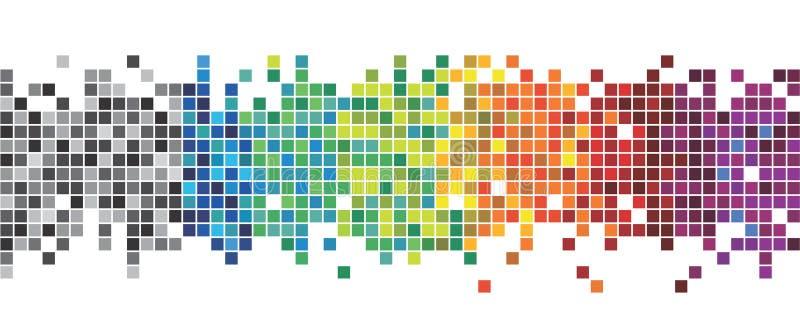 ENV 10 Spaß und sehr bunte Reihe Quadrate oder Pixel in allen Farben des Spektrums, von Schwarzem zum Purpur lizenzfreie stockfotografie