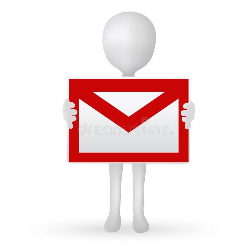 Kleine Hände des Mannes 3d, die einen Briefkasten halten lizenzfreie abbildung