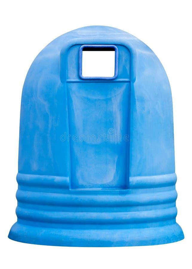 Envase azul de la basura aislado en el fondo blanco fotografía de archivo