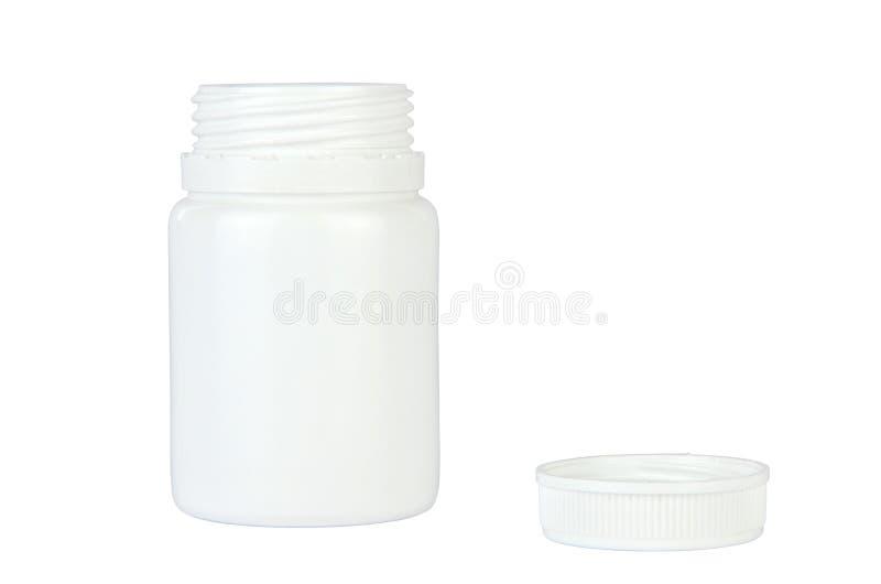 Envase blanco abierto de las píldoras - aislado fotografía de archivo libre de regalías