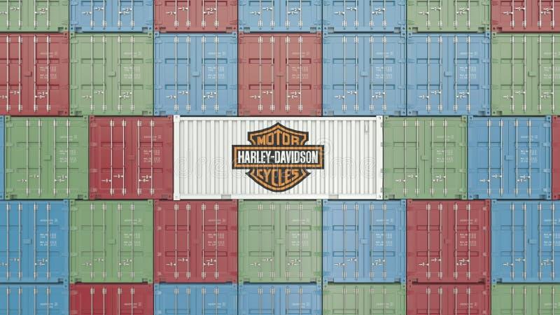 Envase con el logotipo corporativo de Harley-Davidson Representación editorial 3D ilustración del vector