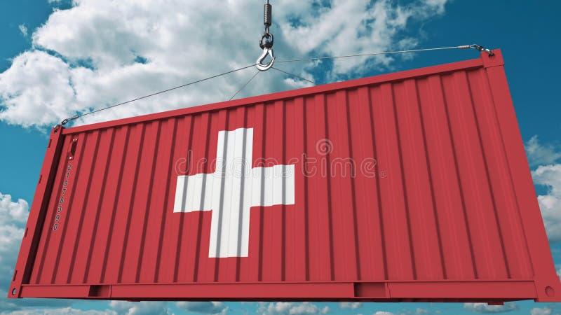 Envase con la bandera de Suiza Los suizos importan o exportan la representación conceptual relacionada 3D ilustración del vector