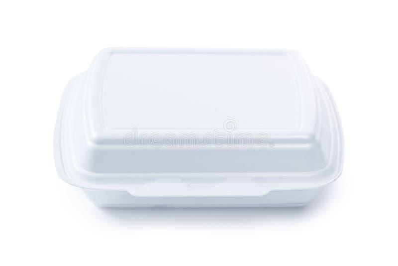 Envase de comida cerrado del poliestireno aislado en blanco fotografía de archivo libre de regalías