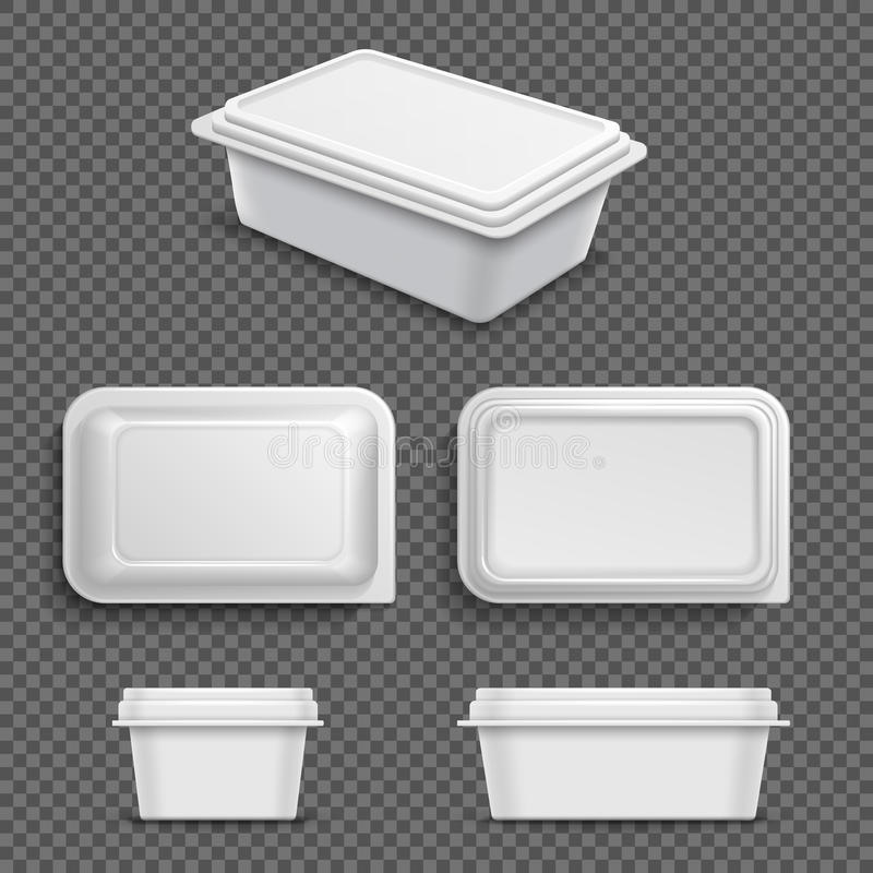 Envase de comida plástico en blanco blanco para la extensión o la mantequilla de la margarina Ejemplo realista del vector 3D ilustración del vector