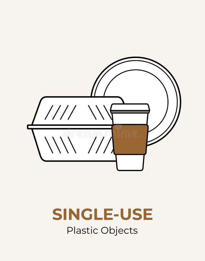 Envase de comida plástico, placa, taza de papel con la tapa plástica Sistema plástico blanco no reutilizable del ejemplo del vect ilustración del vector