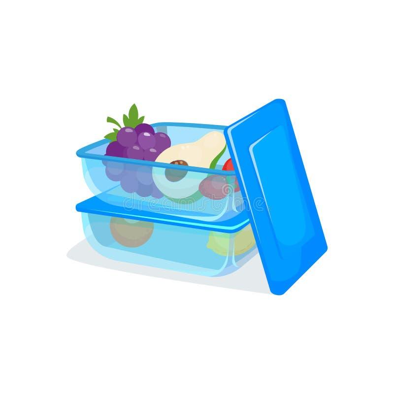 Envase de comida, transparente, azul Dos paquetes plásticos de la caja de la comida para almacenar Alimento sano Fiambrera ilustración del vector